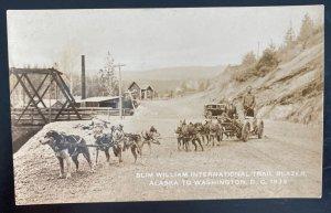 Mint USA Real Picture Postcard Slim William Trail Blazer Alaska Dogs 1933