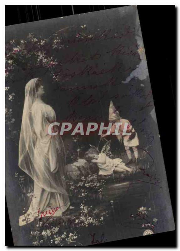 Fantaisie - Femme - Woman with long veil and gnome (carte hongroise Hungary Hong