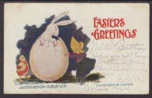 Easter Greetings,Rabbit Coming Out of Egg,Girl Postcard