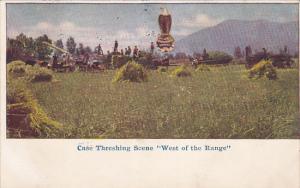 Case Threshing Scene West Of The Range, ROODHOUSE, Illinois, PU-1909