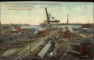 Quincy MA Fore River Shipyards Crane & Equipment c1910 Postcard