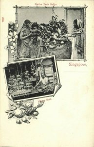 straits settlements, SINGAPORE, Native Fruit Seller and Stall (1899) Postcard
