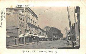 Bucksport ME Main Street Emery Hall Business District Real Photo Postcard