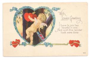 Valentine Postcard Cupid Poem Hearts Bow Arrow Forget me not Arts and Crafts Era