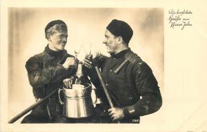 Chimney Sweeps cheers champagne glass New Year early photo postcard Neuen Jahre