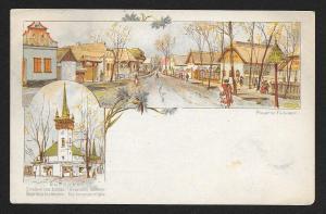 HUNGARY Millenium Exposition Hungarian street & church Unused c1896