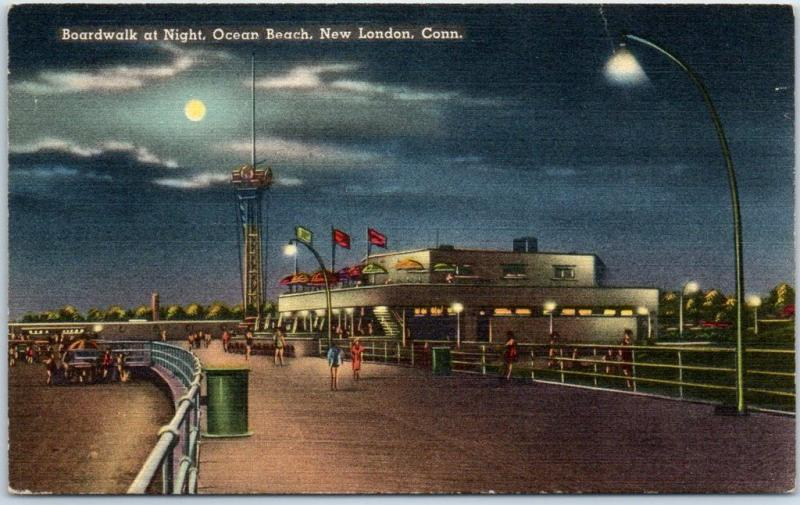 New London, Connecticut Postcard Boardwalk at Night, Ocean Beach Tichnor Linen
