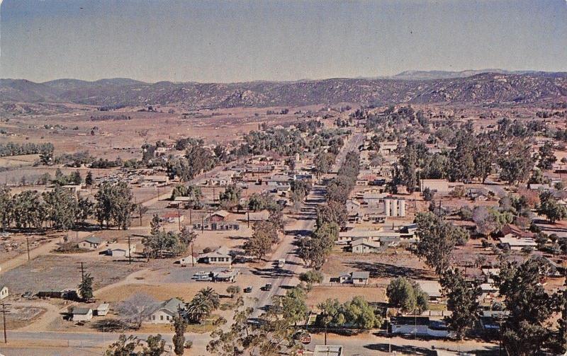 Ramona California~Main Street Highway 67~Homes~Business~1950s Cars~Postcard