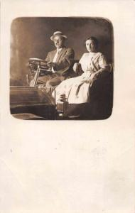 Woman and Man in Car Old Auto Studio Real Photo Antique Postcard J75217