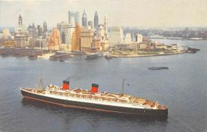 R.M.S. Queen Mary, Cunard Line  New York harbor