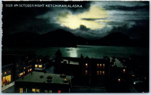 Ketchikan, Alaska Postcard AN OCTOBER NIGHT Bird's-Eye View HHT Co. c1920s