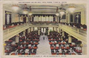 Massachusetts Boston Hotel Pieroni Main Restaurant & Sea Grill Interior 1940