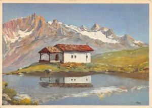 Vintage Switzerland Art Postcard, Chapelle Sainte Marie et Schwarzsee Suisse HB0