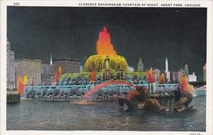 Illinois Chicago Clarence Buckingham Fountain At Night Curteich