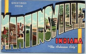 MARTINSVILLE, Indiana Large Letter Postcard The Artesian City Curteich Linen