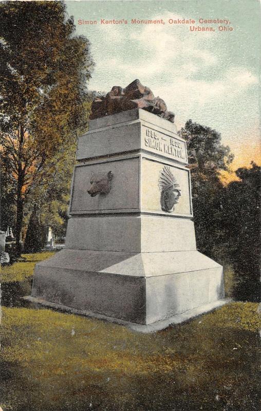 F28/ Urbana Ohio Postcard c1910 Simon Kenton's Monument Grave
