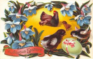 Easter~Hen & Chicks in Blue Lily Flower Wreath~Lime Egg~Embossed~NASH Series 10