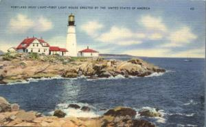 Atlantic Coast Maine Portland Head Light House - RPO Bangor & Boston 1941 Linen