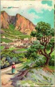 Vintage Postcard - Napoli - Capri Panorama Litho E. Bergini pub. Linen Undiv