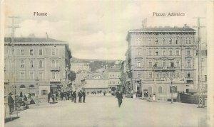 Postcard Croatia Fiume Piazza Adamich