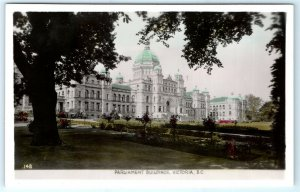 VTG RPPC Real Photo Canada Parliament Building Victoria BC Color Tint View A2