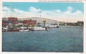 Ohio Marietta Junction Of Ohio and Muskingum Rivers 1935