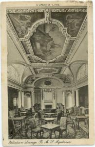W/B Interior View of Palladian Lounge R.M.S Aquitania Cunard
