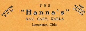 Vintage QSL Postcard  KNM 4521  Lancaster, Ohio  Kay Gary Karla Hanna  -T-