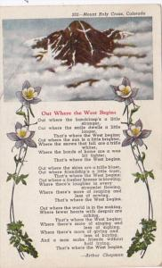 Colorado Mount Holy Cross Out Where The West Begins Poem By Arthur Chapman