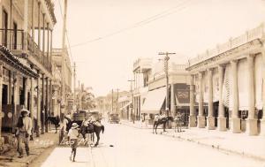 Guantanamo? Cuba~La Maya? Main Street~Zapato Barato~Cigars~Car~Mules~c1930s RPPC