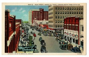 Amarillo TX Postcard Polk Street Autos Mastercraft Tailoring Rexall Drug #75374