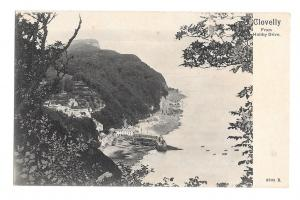 UK Clovelly from Hobby Drive Fishing Village Devon England Vintage UDB Postcard