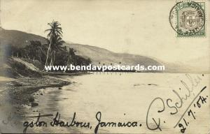 jamaica, B.W.I., KINGSTON Harbor (1904) P. Schiller RPPC, Half-Way-Tree Cancel