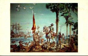 Florida Bradenton Manatee National Bank Painting On North Wall Hernando De So...