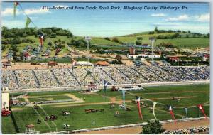 Pittsburgh PA Postcard Rodeo & Race Track, South Park, Allegheny County Linen