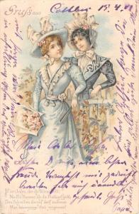 US2478 Gruss aus, Ladies in Dress Postcard art nouveau fantasy litho