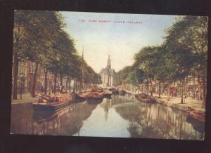 HAGUE HOLLAND TURF MARKET BOATS NETHERLANDS VINTAGE POSTCARD
