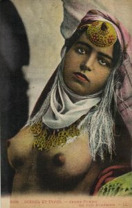 PC CPA ETHNIC NUDE YOUNG ARABIAN FEMALE TYPE SOUTH ALGERIA (b5252)