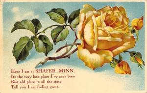 Shafer Minnesota~Poem Greeting~Long Stem Yellow Rose~Emboss~1909 Postcard