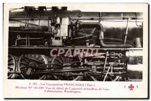 Postcard Old Train Locomotive Machine 141049 detail view of the & # 39apparei...