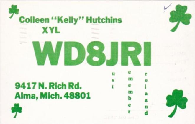 WD8JRI Colleen Kelly Hutchins Alma Michigan 1977