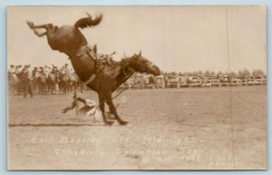 Postcard WY Cheyenne Frontier Days Rodeo Carl Beasley Thrown Off Photo RPPC B9