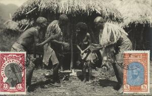 ethiopia, Native Nude Woman and Men Dancing (1929) RPPC Stamps