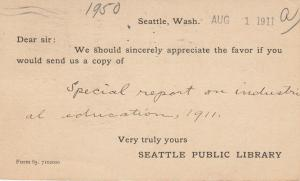 SEATTLE , Washington, 1911; Request for Special report on Industrial Education