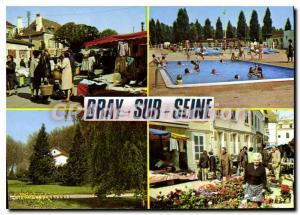 Postcard Modern Bray sur Seine (Seine et Marne) The On The Pool The PLage The...