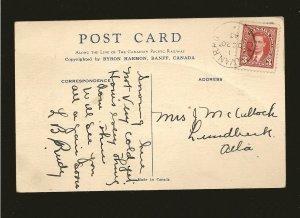 Canada Postmark 1943 CALXVAN RPO Banff Lake Louise CPR Byron Harmon Postcard