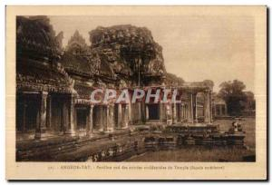 Old Postcard Angkor Wat south Pavilion entries occideatales Temple