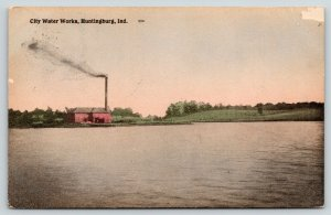 Huntingburg Indiana~City Water Works~Smokestack~1909 Handcolored