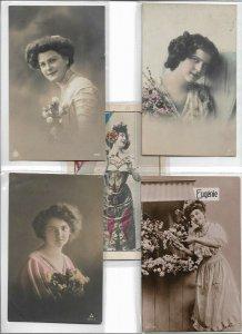 Art Nouveau Pretty Ladies And Romantic RPPC Postcard Lot of 10 01.10
