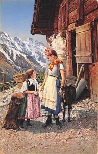 Switzerland Old Vintage Antique Post Card Children and Goat Unused